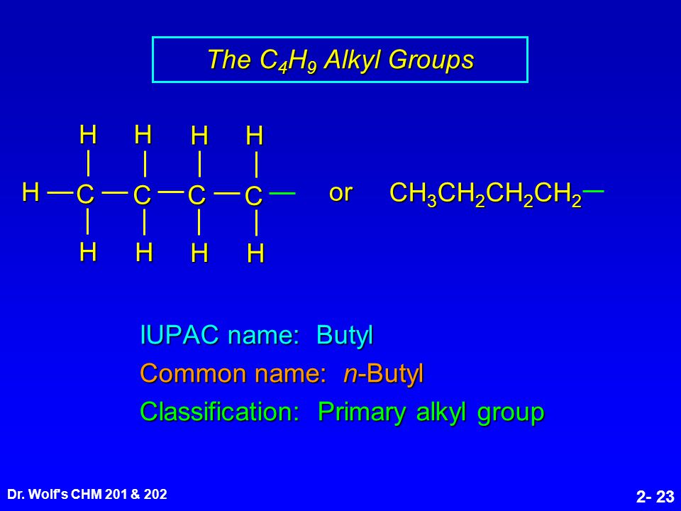 Dr. Wolf's CHM 201 & 202 2- 23 IUPAC name: Butyl Common name: n-Butyl Classification: Primary alkyl group CH 3 CH 2 CH 2 CH 2 C C HHHH H C C HH H H or