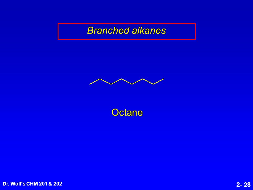 Dr. Wolf's CHM 201 & 202 2- 28 Branched alkanes Octane