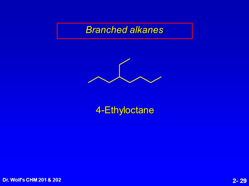 Dr. Wolf's CHM 201 & 202 2- 29 4-Ethyloctane Branched alkanes