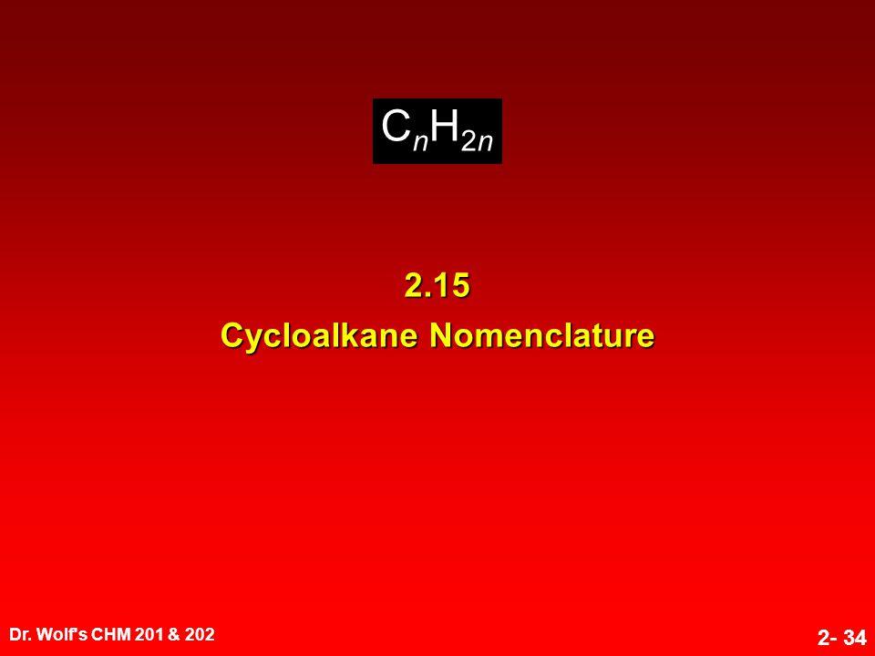 Dr. Wolf s CHM 201 & 202 2- 34 CnH2nCnH2nCnH2nCnH2n 2.15 Cycloalkane Nomenclature