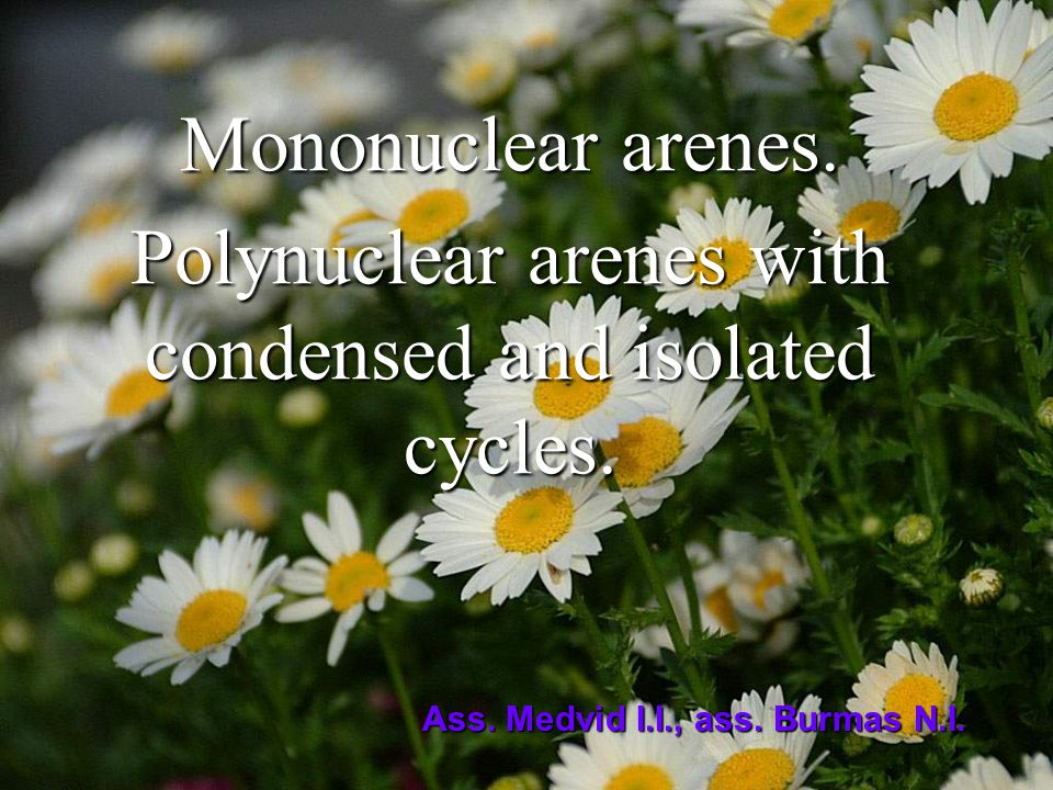 Mononuclear arenes. Polynuclear arenes with condensed and isolated cycles. Ass. Medvid I.I., ass. Burmas N.I.
