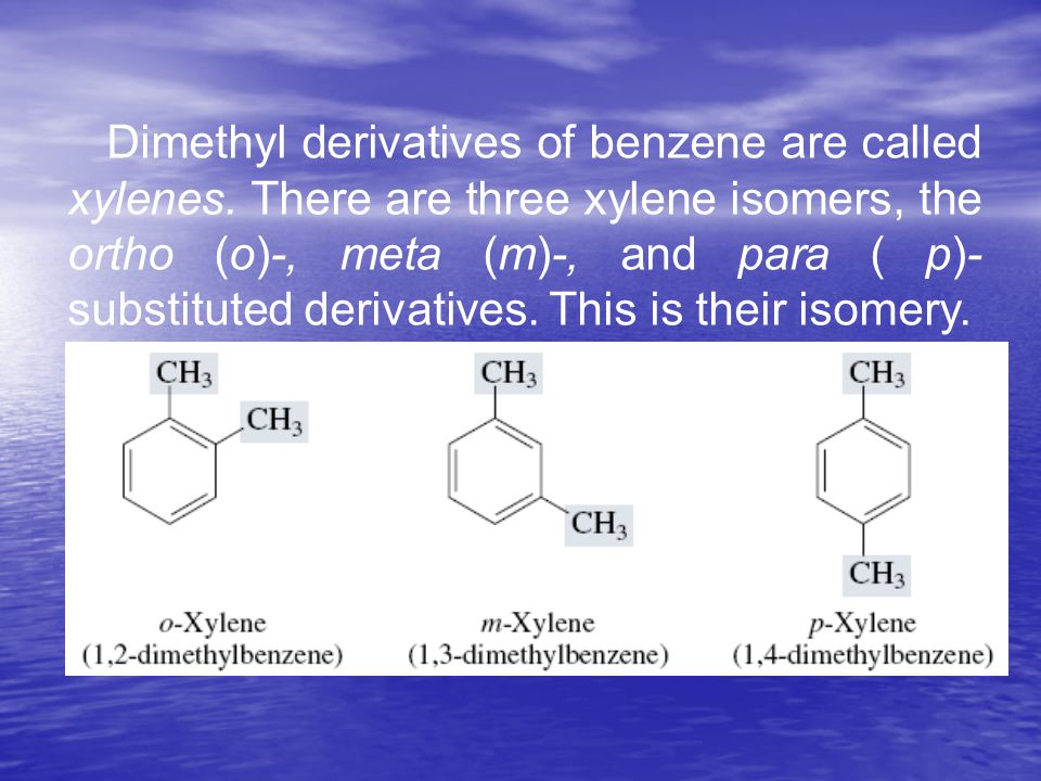 Dimethyl derivatives of benzene are called xylenes.