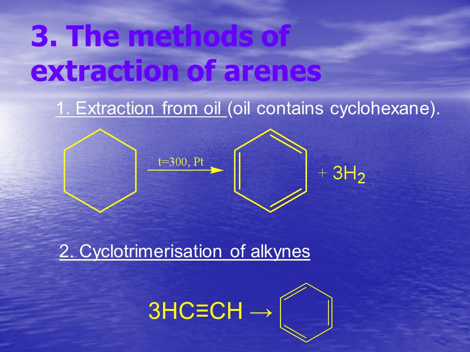3. The methods of extraction of arenes 1. Extraction from oil (oil contains cyclohexane).