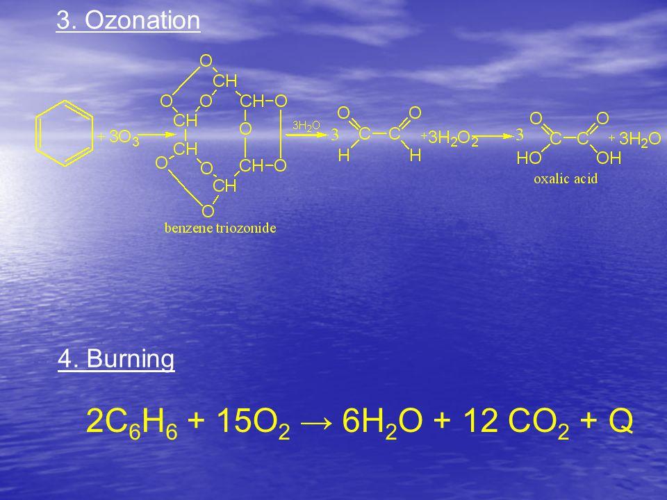 3. Ozonation 4. Burning 2C 6 H 6 + 15O 2 → 6H 2 O + 12 CO 2 + Q