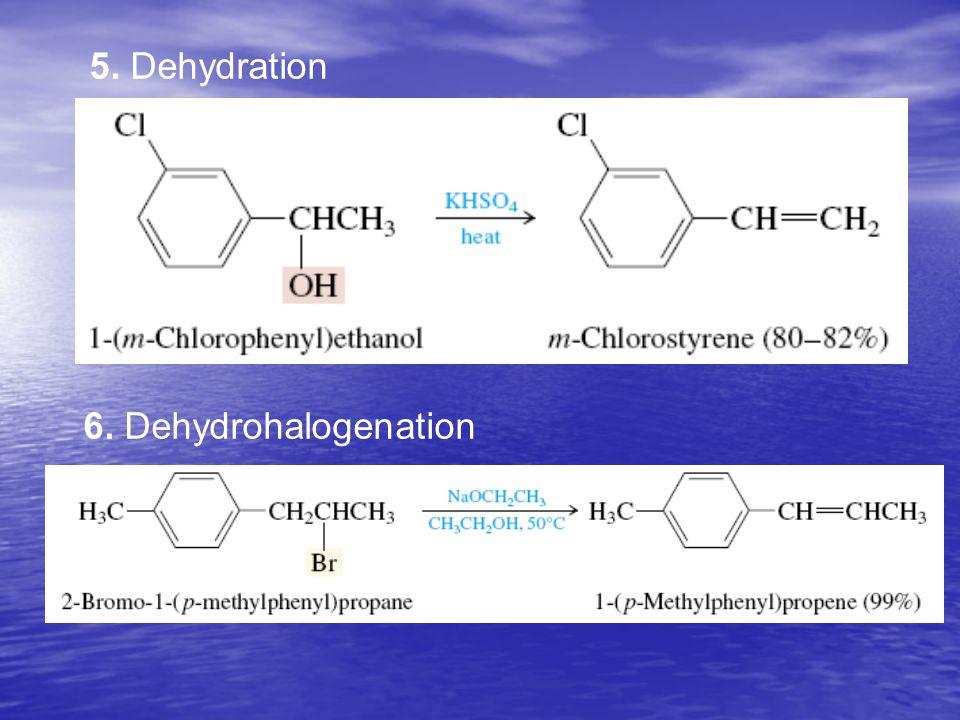 5. Dehydration 6. Dehydrohalogenation
