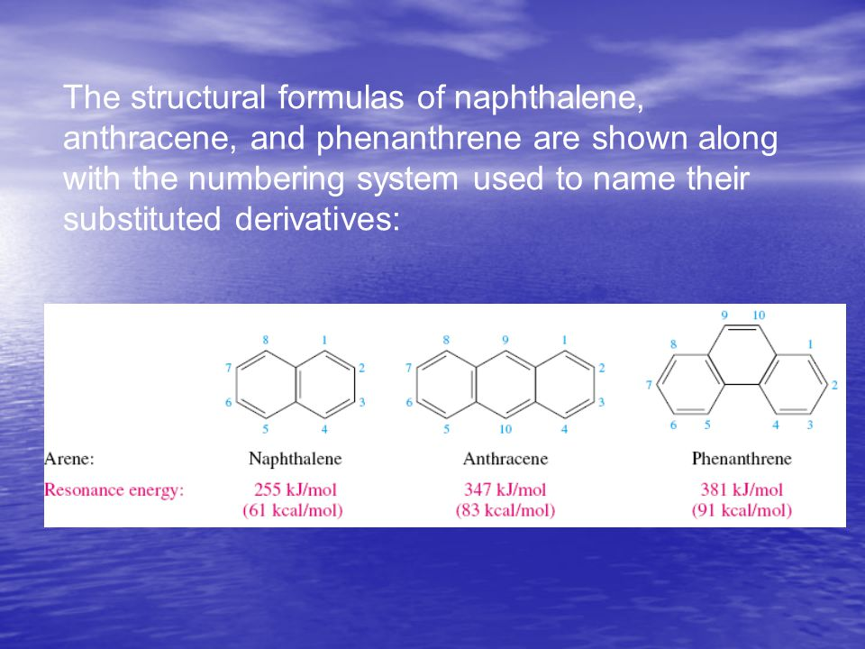 The structural formulas of naphthalene, anthracene, and phenanthrene are shown along with the numbering system used to name their substituted derivati