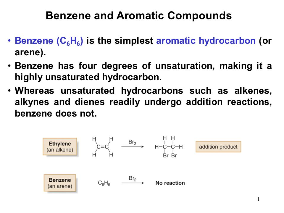 1 Benzene and Aromatic Compounds Benzene (C 6 H 6 ) is the simplest aromatic hydrocarbon (or arene). Benzene has four degrees of unsaturation, making