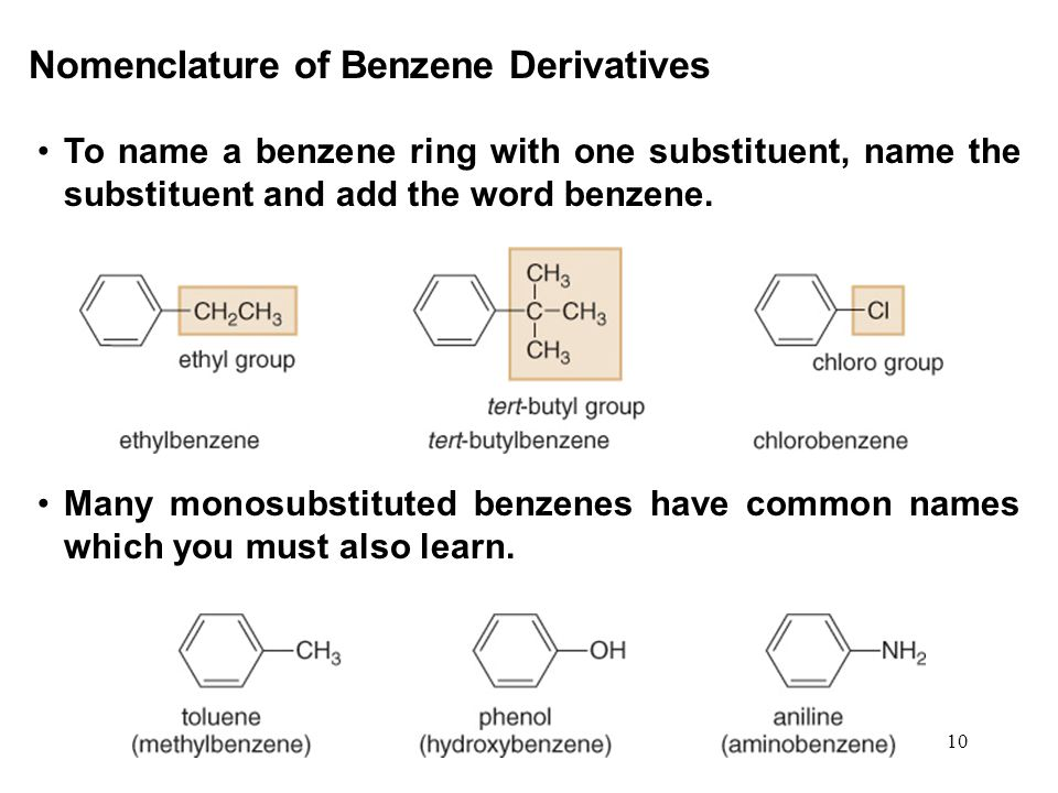 10 To name a benzene ring with one substituent, name the substituent and add the word benzene. Nomenclature of Benzene Derivatives Many monosubstitute