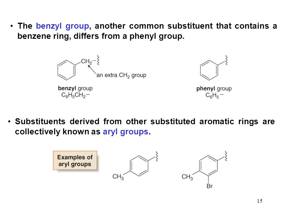 15 The benzyl group, another common substituent that contains a benzene ring, differs from a phenyl group. Substituents derived from other substituted