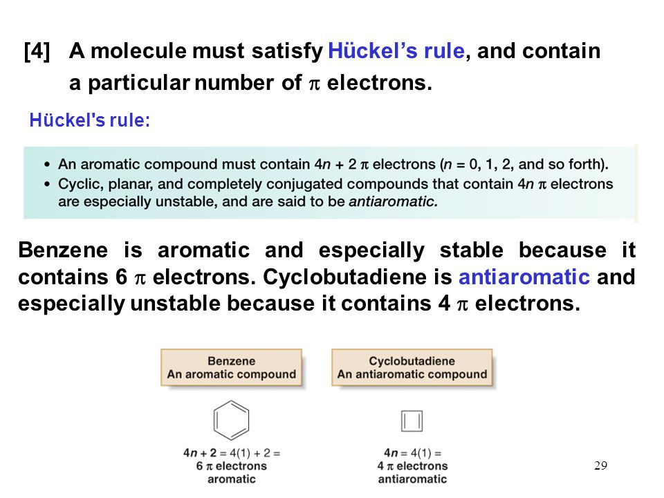 29 [4] A molecule must satisfy Hückel's rule, and contain a particular number of  electrons. Benzene is aromatic and especially stable because it con