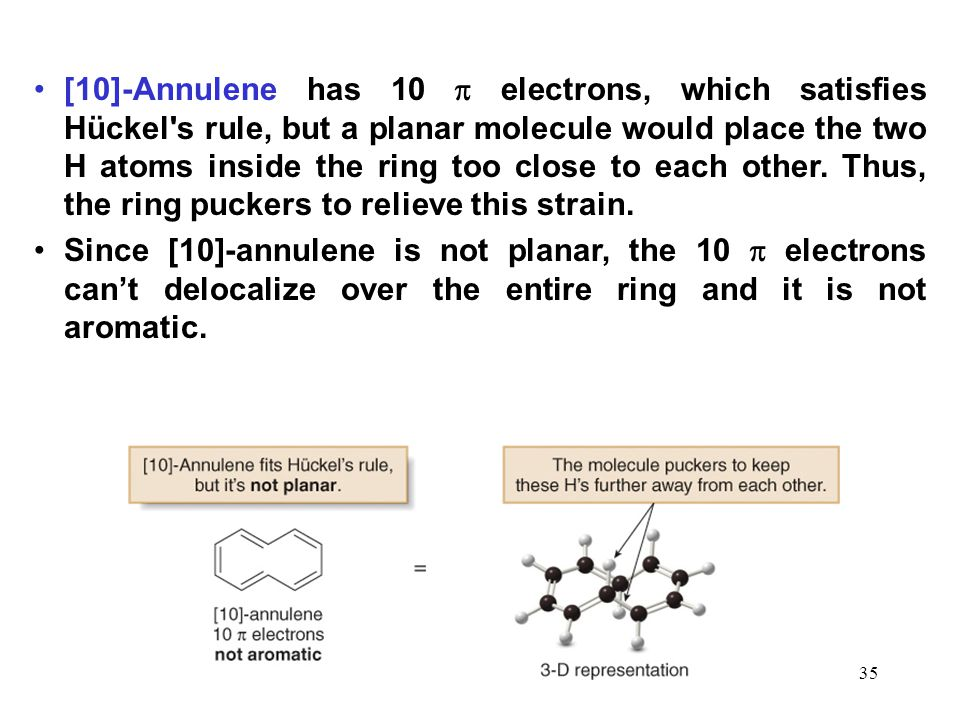 35 [10]-Annulene has 10  electrons, which satisfies Hückel's rule, but a planar molecule would place the two H atoms inside the ring too close to eac