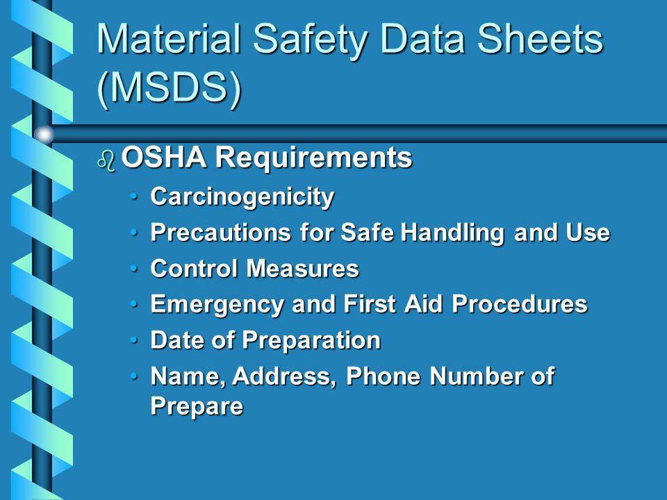 b OSHA Requirements CarcinogenicityCarcinogenicity Precautions for Safe Handling and UsePrecautions for Safe Handling and Use Control MeasuresControl