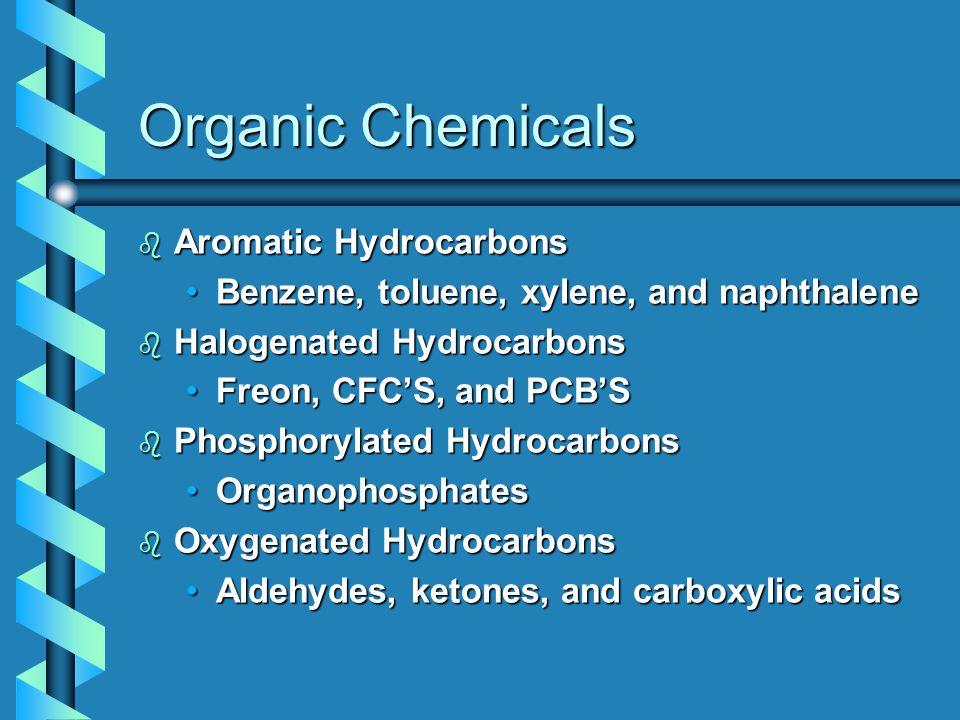 Organic Chemicals b Aromatic Hydrocarbons Benzene, toluene, xylene, and naphthaleneBenzene, toluene, xylene, and naphthalene b Halogenated Hydrocarbons Freon, CFC'S, and PCB'SFreon, CFC'S, and PCB'S b Phosphorylated Hydrocarbons OrganophosphatesOrganophosphates b Oxygenated Hydrocarbons Aldehydes, ketones, and carboxylic acidsAldehydes, ketones, and carboxylic acids