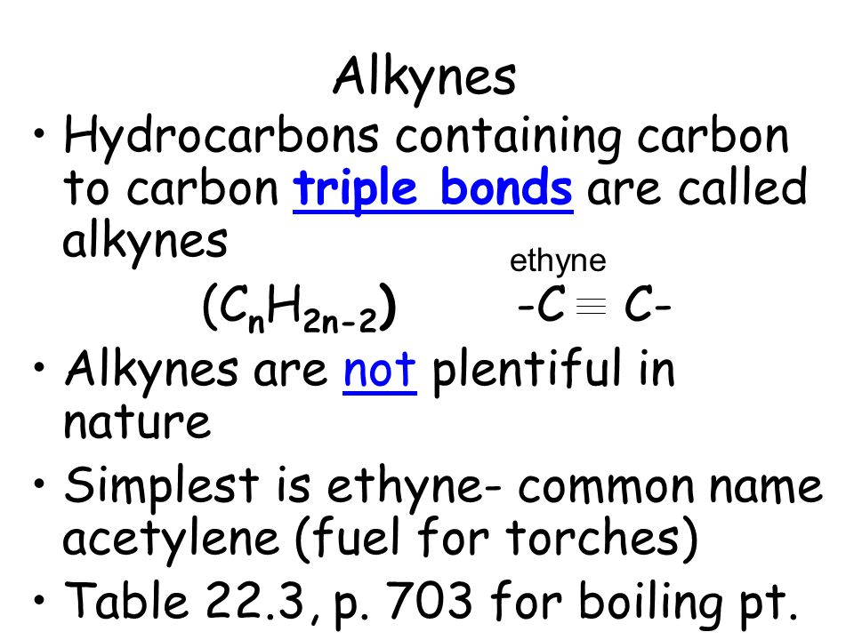 Alkynes Hydrocarbons containing carbon to carbon triple bonds are called alkynes (C n H 2n-2 ) -C C- Alkynes are not plentiful in nature Simplest is e