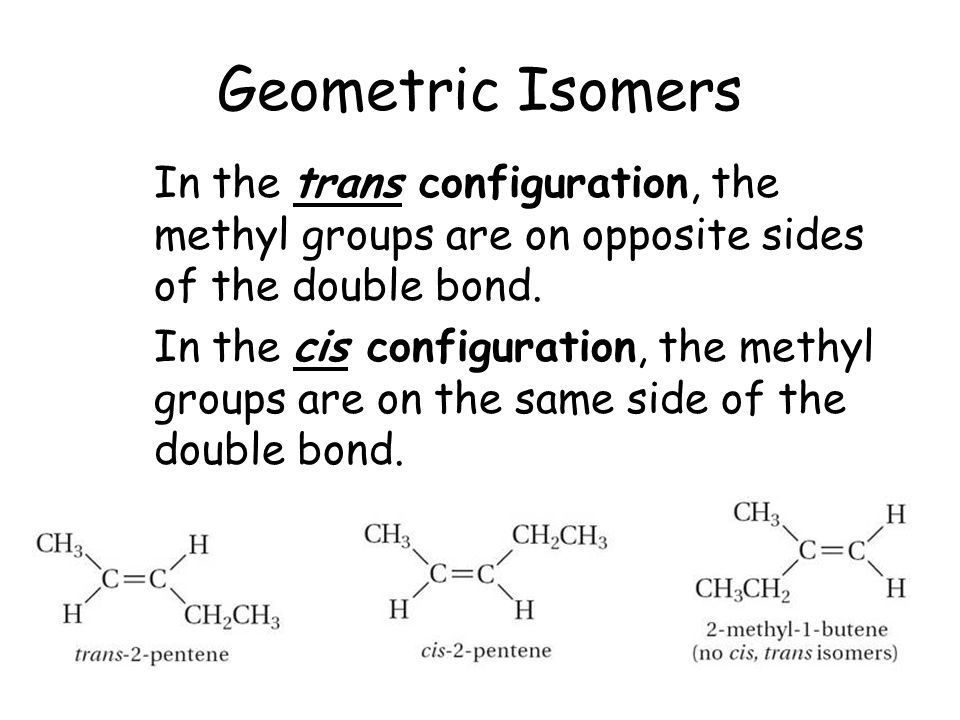 Geometric Isomers In the trans configuration, the methyl groups are on opposite sides of the double bond. In the cis configuration, the methyl groups