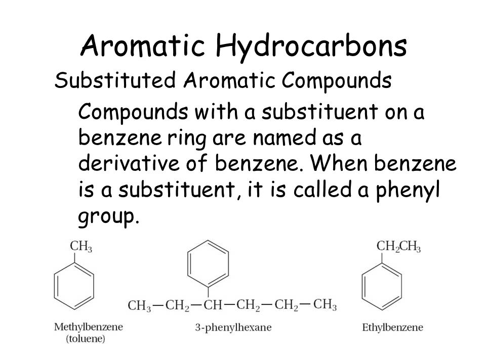 Aromatic Hydrocarbons Substituted Aromatic Compounds Compounds with a substituent on a benzene ring are named as a derivative of benzene. When benzene