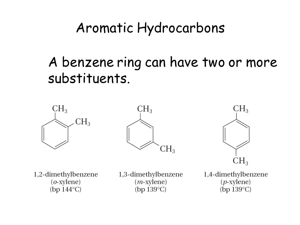 Aromatic Hydrocarbons A benzene ring can have two or more substituents.