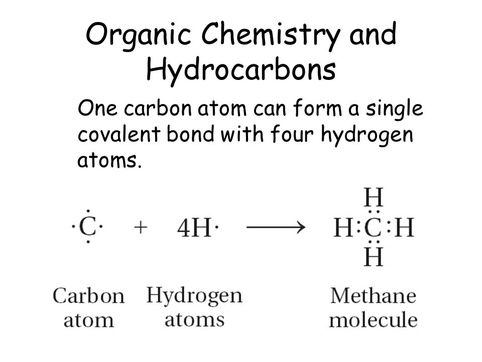 Organic Chemistry and Hydrocarbons One carbon atom can form a single covalent bond with four hydrogen atoms.