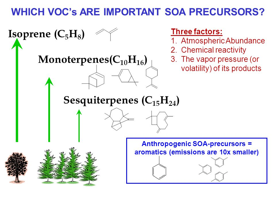 Isoprene (C 5 H 8 ) Monoterpenes(C 10 H 16 ) Sesquiterpenes (C 15 H 24 ) WHICH VOC's ARE IMPORTANT SOA PRECURSORS.