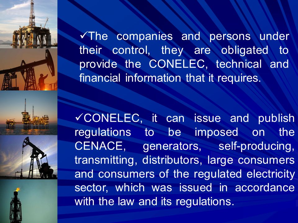 The companies and persons under their control, they are obligated to provide the CONELEC, technical and financial information that it requires.