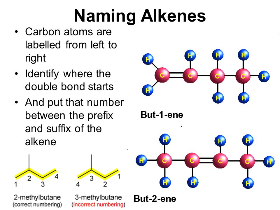 Naming Alkenes Carbon atoms are labelled from left to right Identify where the double bond starts And put that number between the prefix and suffix of
