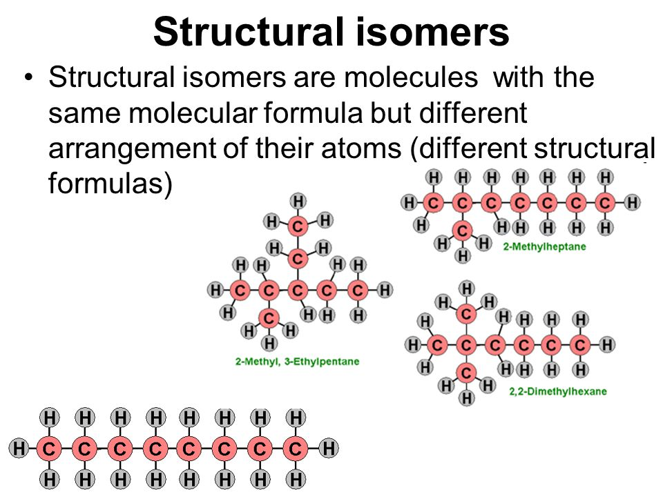 Structural isomers Structural isomers are molecules with the same molecular formula but different arrangement of their atoms (different structural for