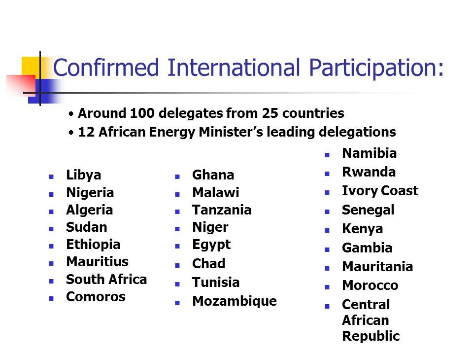 Confirmed International Participation: Libya Nigeria Algeria Sudan Ethiopia Mauritius South Africa Comoros Namibia Rwanda Ivory Coast Senegal Kenya Ga