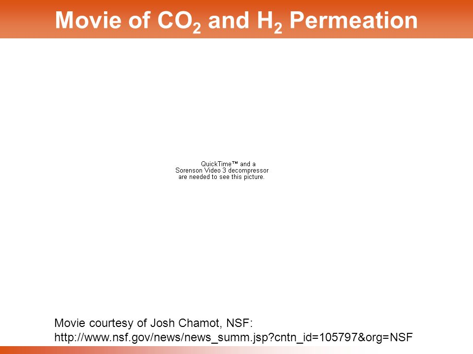 1 Movie of CO 2 and H 2 Permeation Movie courtesy of Josh Chamot, NSF: http://www.nsf.gov/news/news_summ.jsp?cntn_id=105797&org=NSF