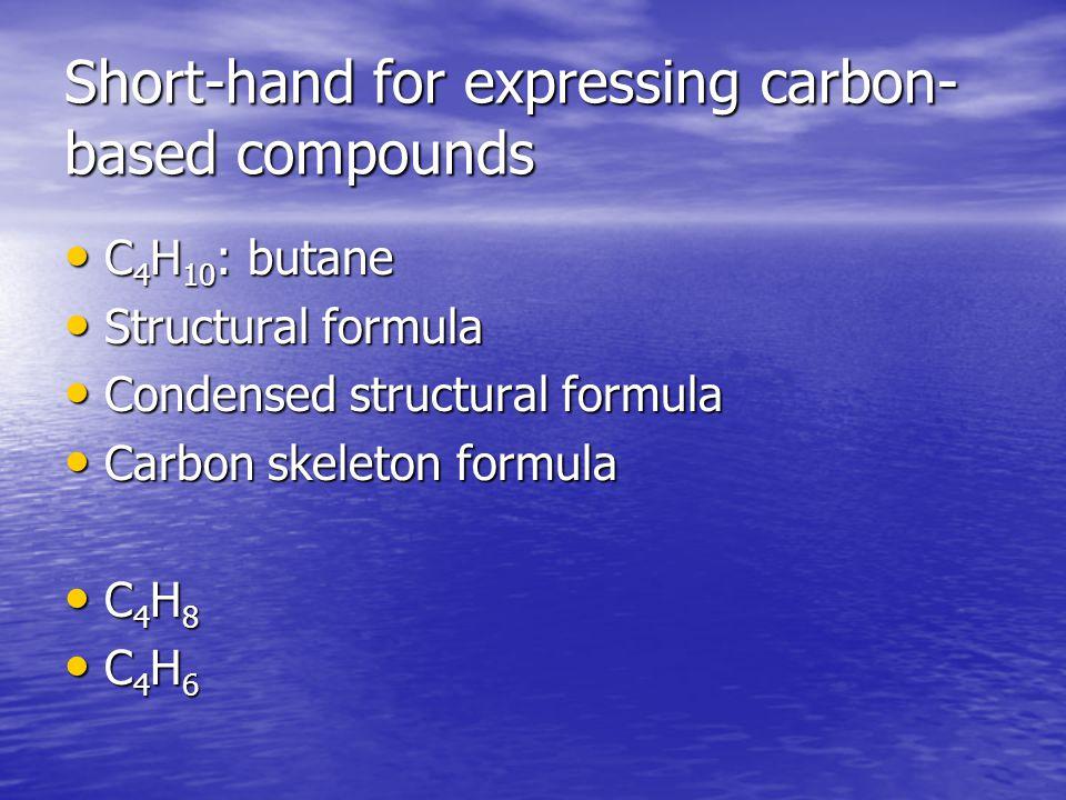 Short-hand for expressing carbon- based compounds C 4 H 10 : butane C 4 H 10 : butane Structural formula Structural formula Condensed structural formu