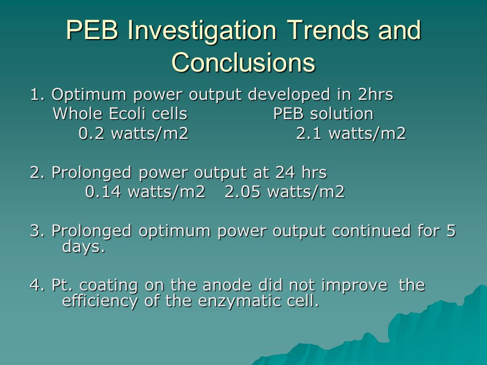 PEB Investigation Trends and Conclusions 1.