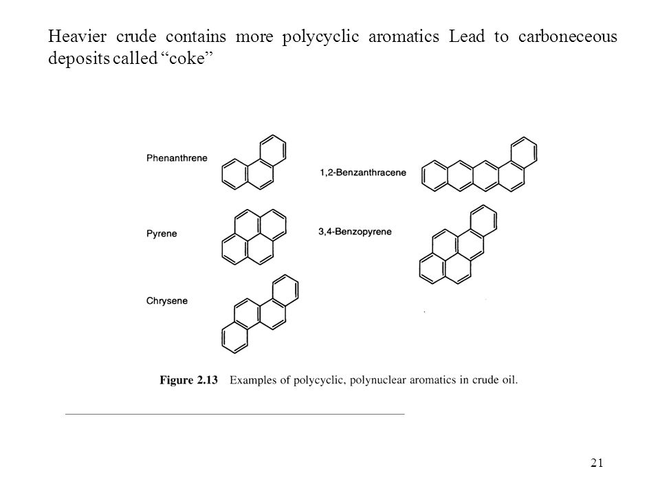 "21 Heavier crude contains more polycyclic aromatics Lead to carboneceous deposits called ""coke"""