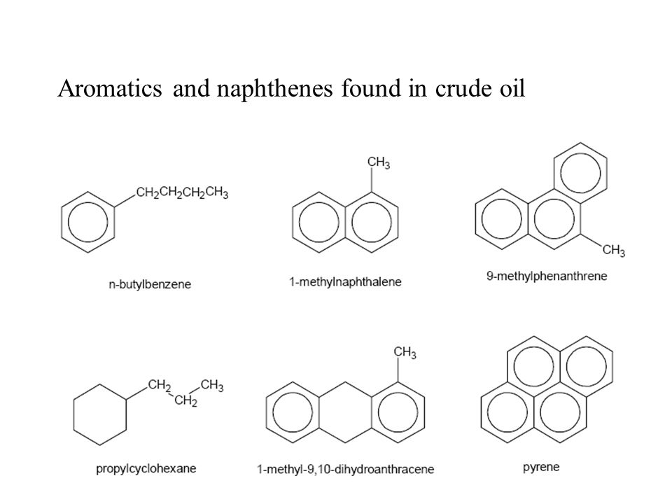Aromatics and naphthenes found in crude oil 23