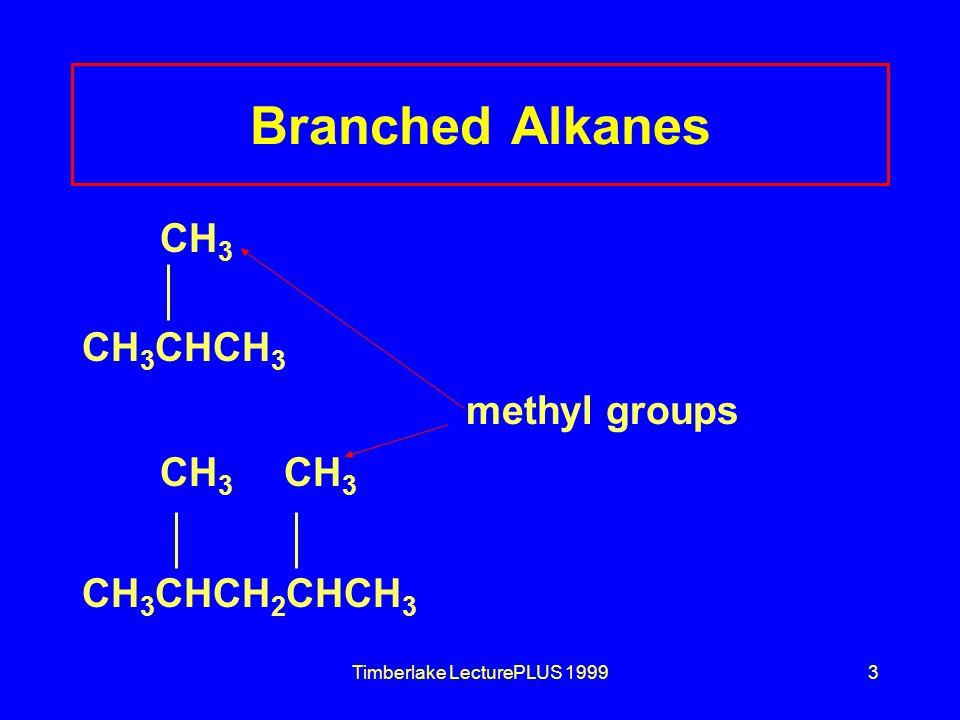 Timberlake LecturePLUS 19993 Branched Alkanes CH 3 CH 3 CHCH 3 methyl groups CH 3 CH 3 CH 3 CHCH 2 CHCH 3