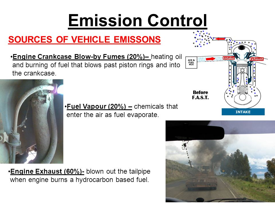 Emission Control SOURCES OF VEHICLE EMISSONS Engine Crankcase Blow-by Fumes (20%)– heating oil and burning of fuel that blows past piston rings and into the crankcase.