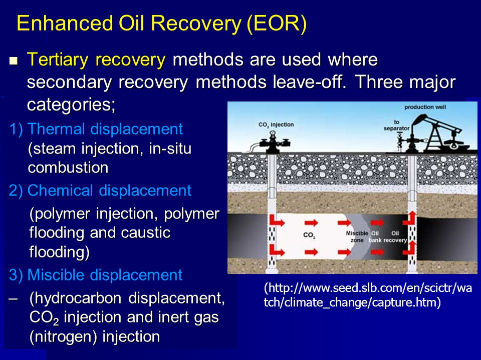 Tertiary recovery methods are used where secondary recovery methods leave-off. Three major categories; Tertiary recovery methods are used where second