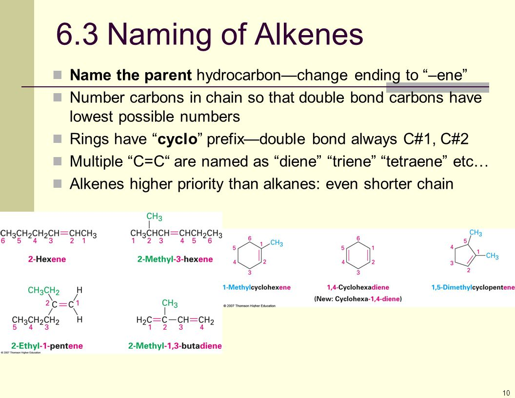 """10 6.3 Naming of Alkenes Name the parent hydrocarbon—change ending to """"–ene"""" Number carbons in chain so that double bond carbons have lowest possible"""
