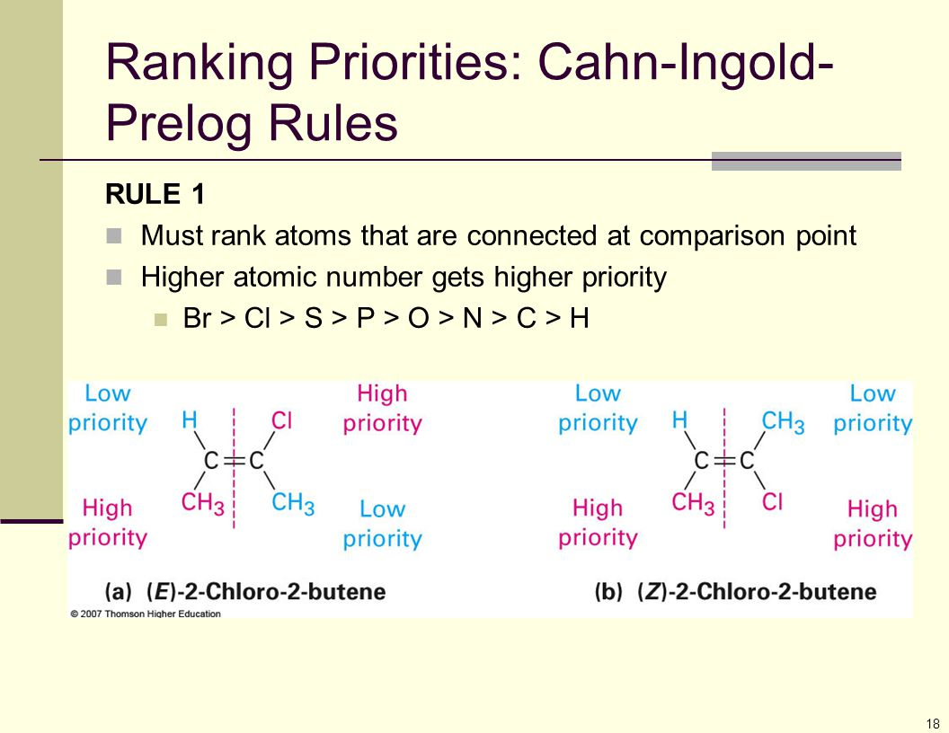 18 Ranking Priorities: Cahn-Ingold- Prelog Rules RULE 1 Must rank atoms that are connected at comparison point Higher atomic number gets higher priori