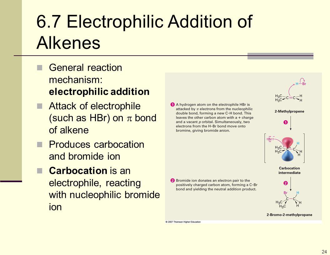 24 6.7 Electrophilic Addition of Alkenes General reaction mechanism: electrophilic addition Attack of electrophile (such as HBr) on  bond of alkene P
