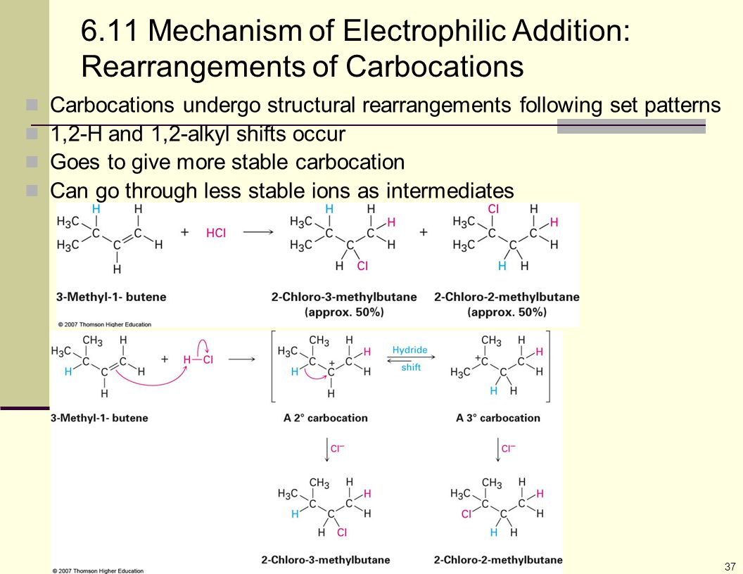 37 6.11 Mechanism of Electrophilic Addition: Rearrangements of Carbocations Carbocations undergo structural rearrangements following set patterns 1,2-