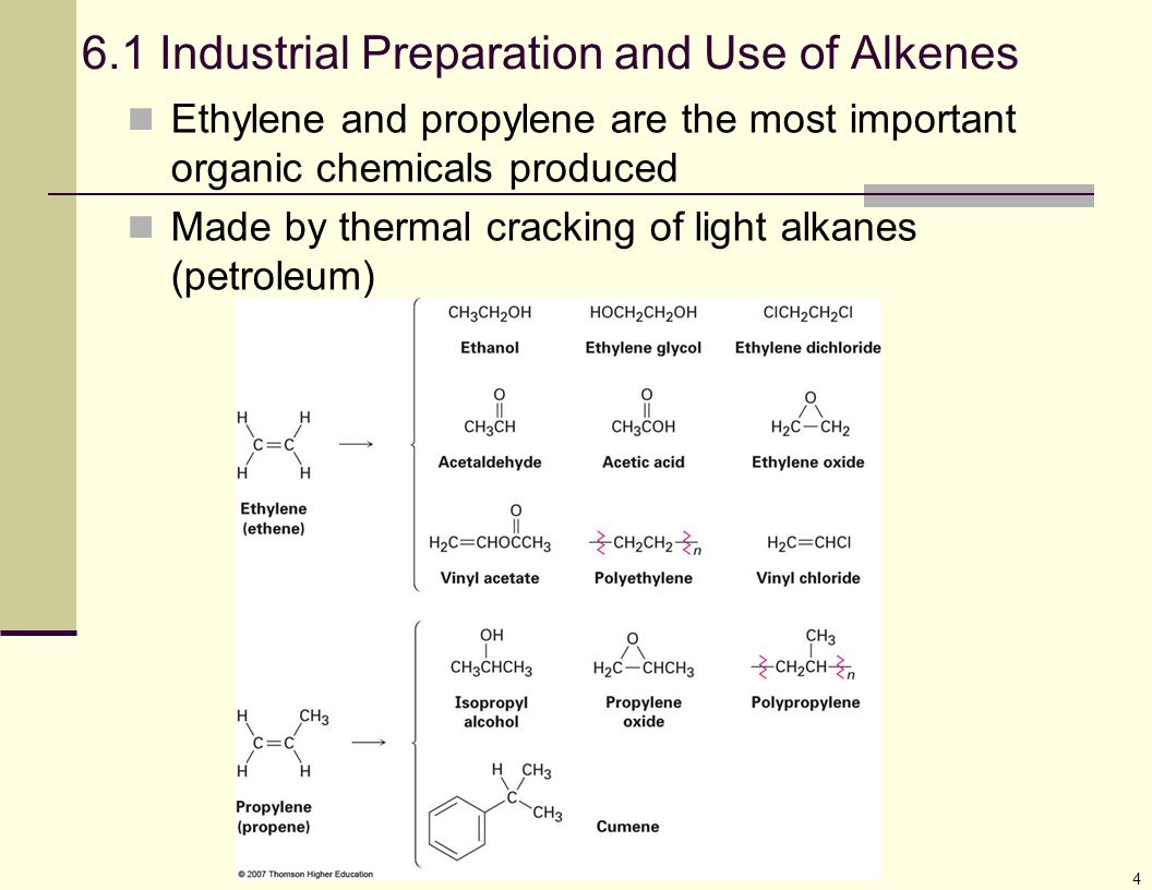 4 6.1 Industrial Preparation and Use of Alkenes Ethylene and propylene are the most important organic chemicals produced Made by thermal cracking of l
