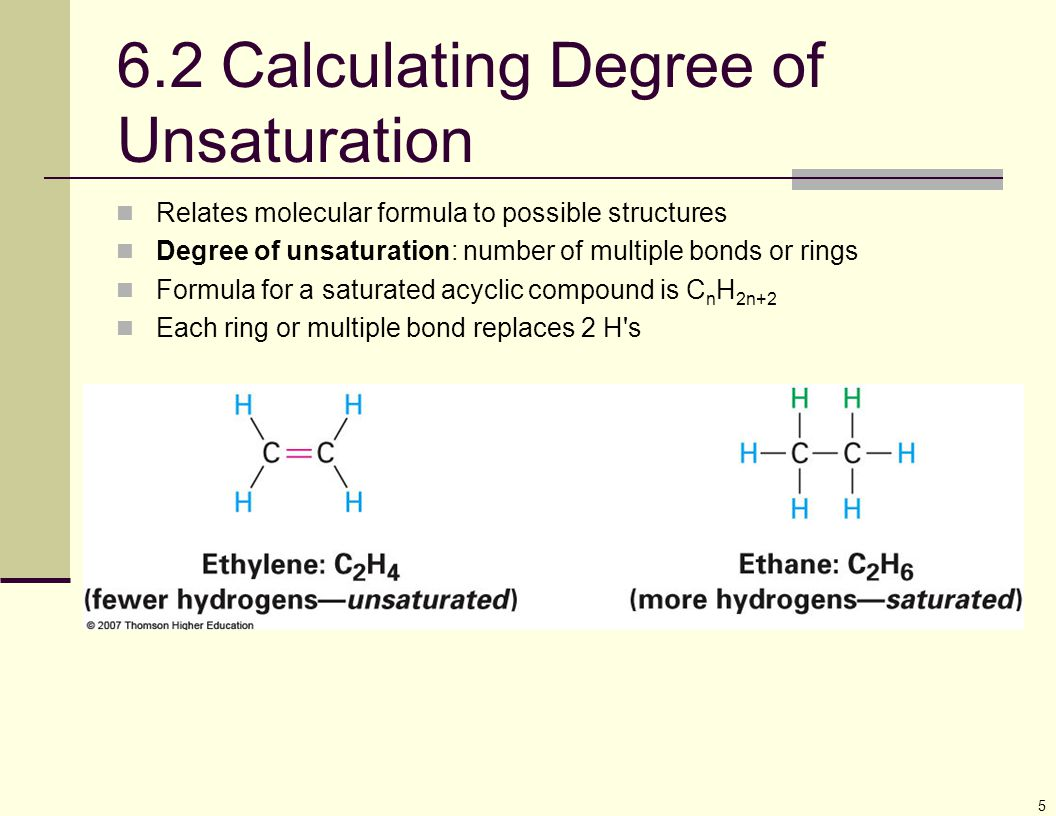 5 6.2 Calculating Degree of Unsaturation Relates molecular formula to possible structures Degree of unsaturation: number of multiple bonds or rings Fo