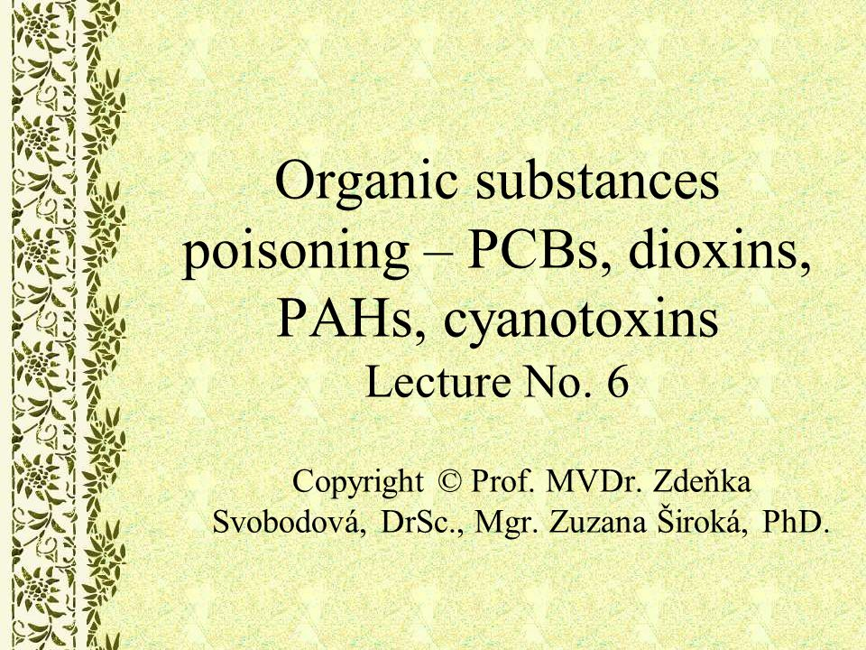 Polychlorinated dibenzodioxins – PCDD (dioxins), polychlorinated dibenzofurans – PCDF Global pollutants Not produced intentionally but by-products of anthropogenic activity, only minority created in environment (bacterial function etc.) One of the most toxic chemicals, belong to POPs PCDDs and PCDFs are polychlorinated planar molecules.