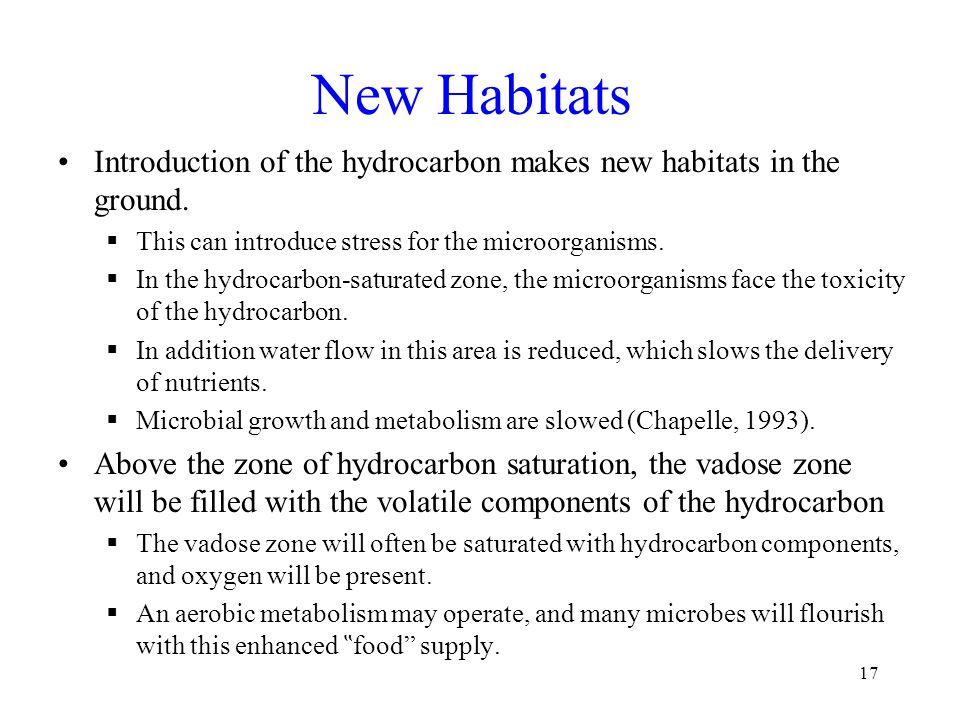 New Habitats Introduction of the hydrocarbon makes new habitats in the ground.  This can introduce stress for the microorganisms.  In the hydrocarbo