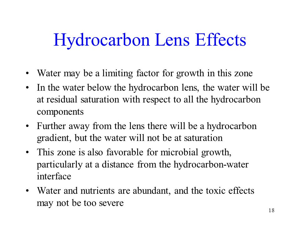 Hydrocarbon Lens Effects Water may be a limiting factor for growth in this zone In the water below the hydrocarbon lens, the water will be at residual saturation with respect to all the hydrocarbon components Further away from the lens there will be a hydrocarbon gradient, but the water will not be at saturation This zone is also favorable for microbial growth, particularly at a distance from the hydrocarbon-water interface Water and nutrients are abundant, and the toxic effects may not be too severe 18