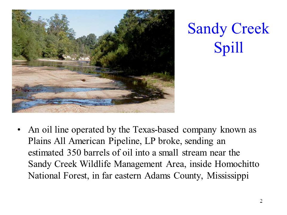 2 Sandy Creek Spill An oil line operated by the Texas-based company known as Plains All American Pipeline, LP broke, sending an estimated 350 barrels of oil into a small stream near the Sandy Creek Wildlife Management Area, inside Homochitto National Forest, in far eastern Adams County, Mississippi
