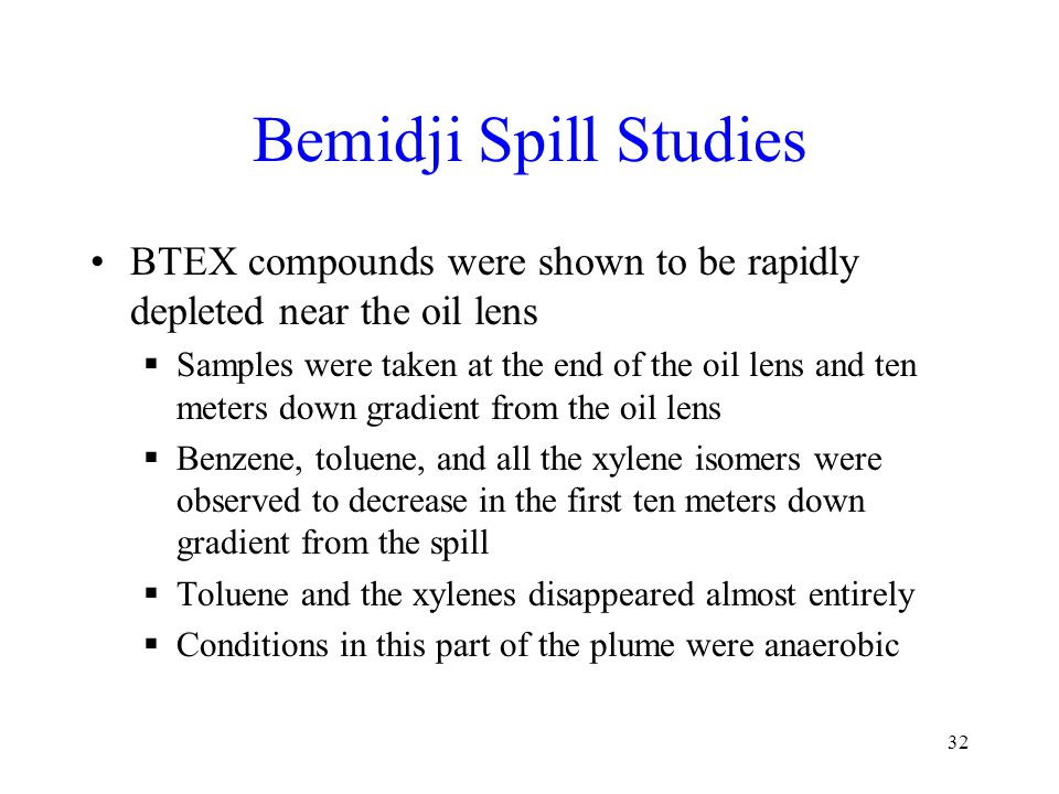 Bemidji Spill Studies BTEX compounds were shown to be rapidly depleted near the oil lens  Samples were taken at the end of the oil lens and ten meters down gradient from the oil lens  Benzene, toluene, and all the xylene isomers were observed to decrease in the first ten meters down gradient from the spill  Toluene and the xylenes disappeared almost entirely  Conditions in this part of the plume were anaerobic 32