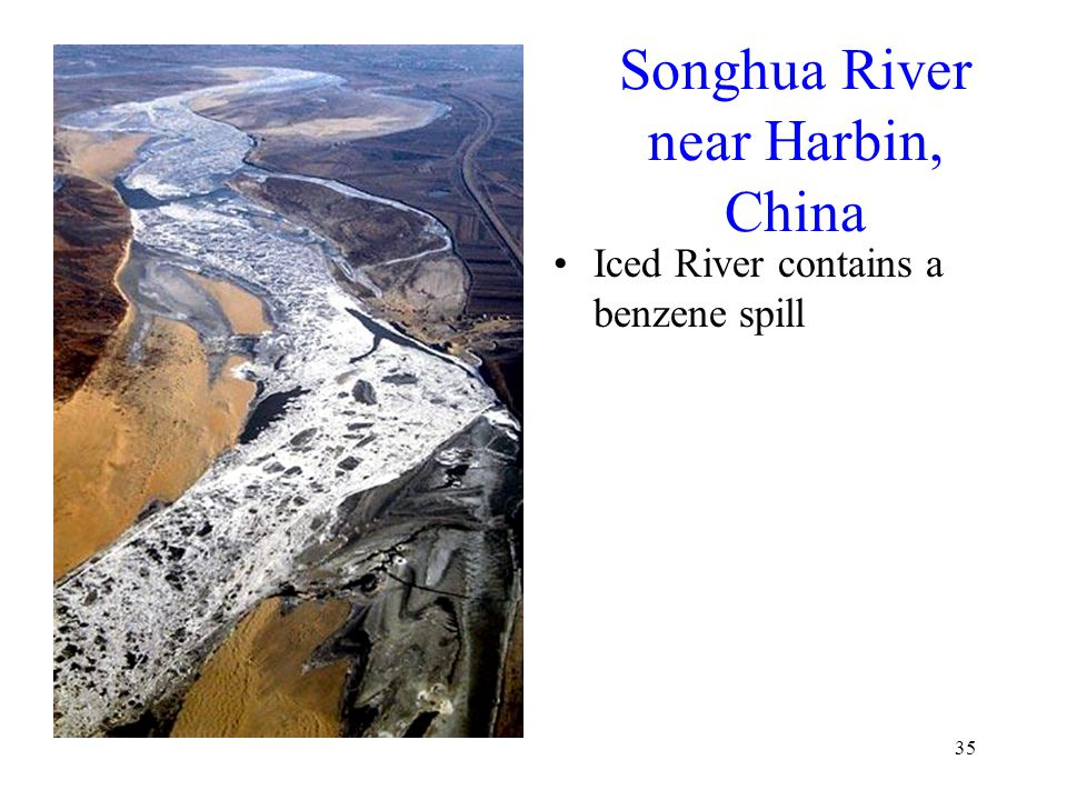 35 Songhua River near Harbin, China Iced River contains a benzene spill