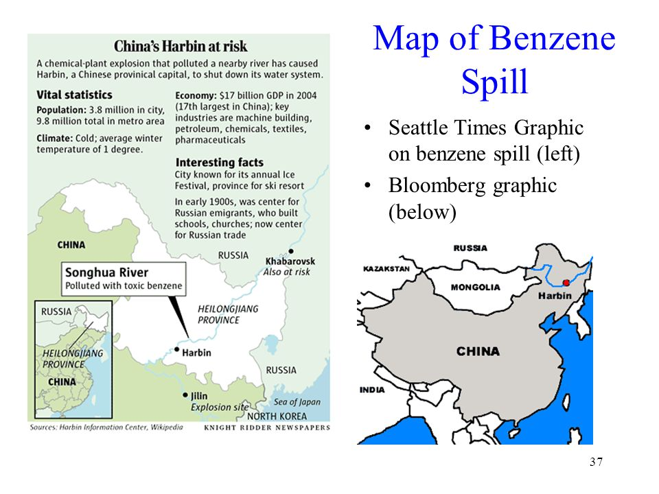 37 Map of Benzene Spill Seattle Times Graphic on benzene spill (left) Bloomberg graphic (below)