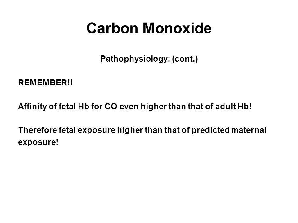 Carbon Monoxide Pathophysiology: (cont.) REMEMBER!.