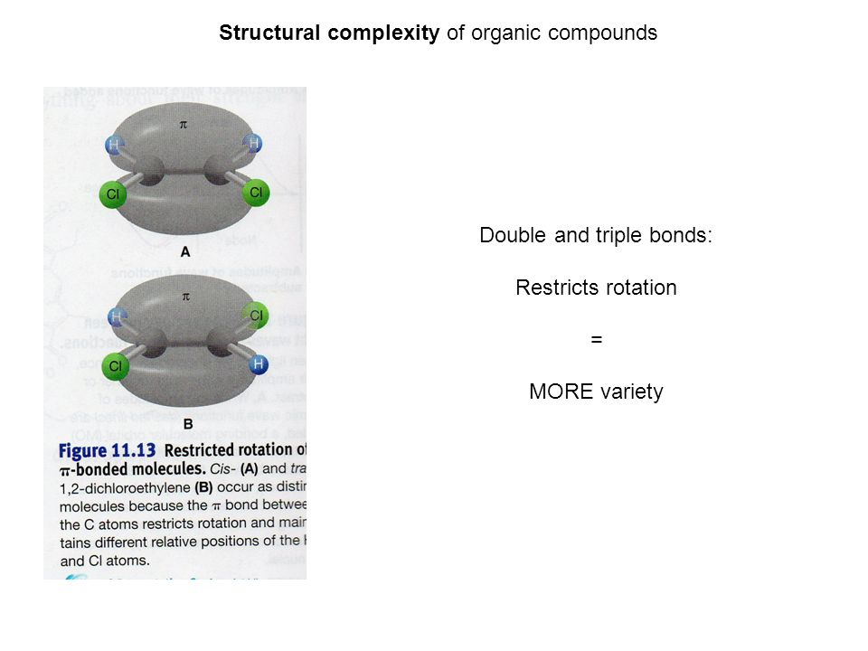 Double and triple bonds: Restricts rotation = MORE variety Structural complexity of organic compounds